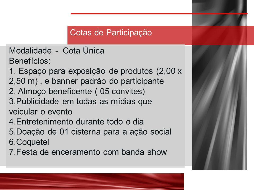 Cotas de Participação Modalidade - Cota Única Benefícios: 1.