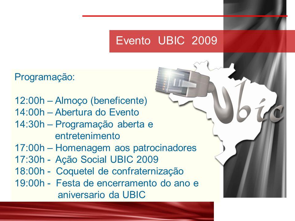 Programação: 12:00h – Almoço (beneficente) 14:00h – Abertura do Evento 14:30h – Programação aberta e entretenimento 17:00h – Homenagem aos patrocinadores 17:30h - Ação Social UBIC 2009 18:00h - Coquetel de confraternização 19:00h - Festa de encerramento do ano e aniversario da UBIC Evento UBIC 2009