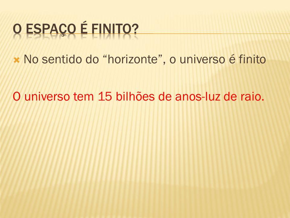 """ No sentido do """"horizonte"""", o universo é finito O universo tem 15 bilhões de anos-luz de raio."""