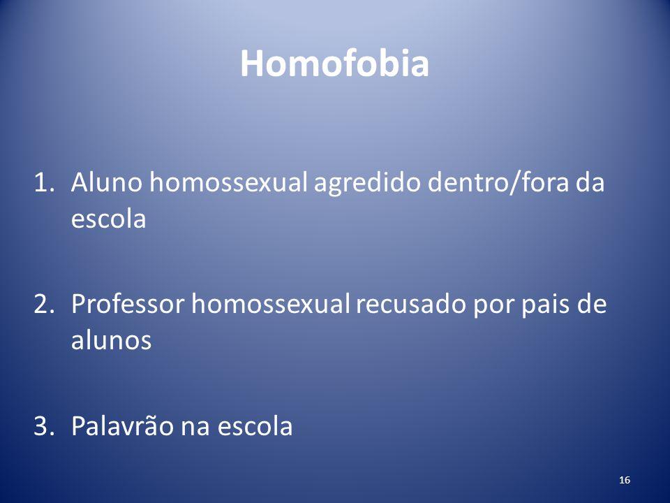 Homofobia 1.Aluno homossexual agredido dentro/fora da escola 2.Professor homossexual recusado por pais de alunos 3.Palavrão na escola 16
