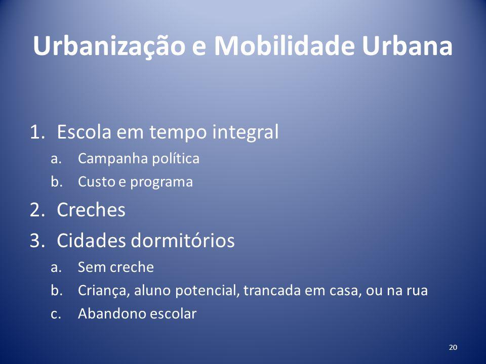 Urbanização e Mobilidade Urbana 1.Escola em tempo integral a.Campanha política b.Custo e programa 2.Creches 3.Cidades dormitórios a.Sem creche b.Crian