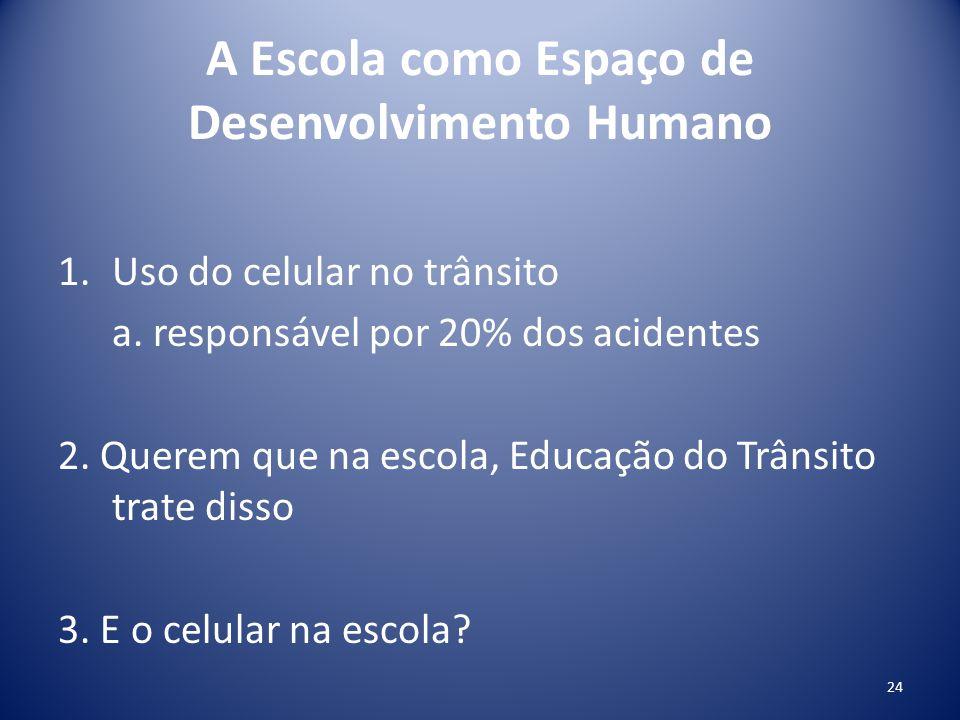 A Escola como Espaço de Desenvolvimento Humano 1.Uso do celular no trânsito a. responsável por 20% dos acidentes 2. Querem que na escola, Educação do