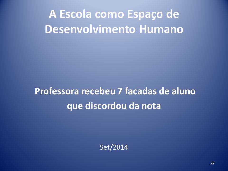 A Escola como Espaço de Desenvolvimento Humano Professora recebeu 7 facadas de aluno que discordou da nota Set/2014 27
