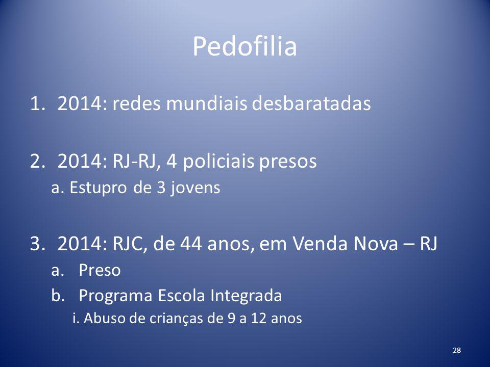 Pedofilia 1.2014: redes mundiais desbaratadas 2.2014: RJ-RJ, 4 policiais presos a. Estupro de 3 jovens 3.2014: RJC, de 44 anos, em Venda Nova – RJ a.P