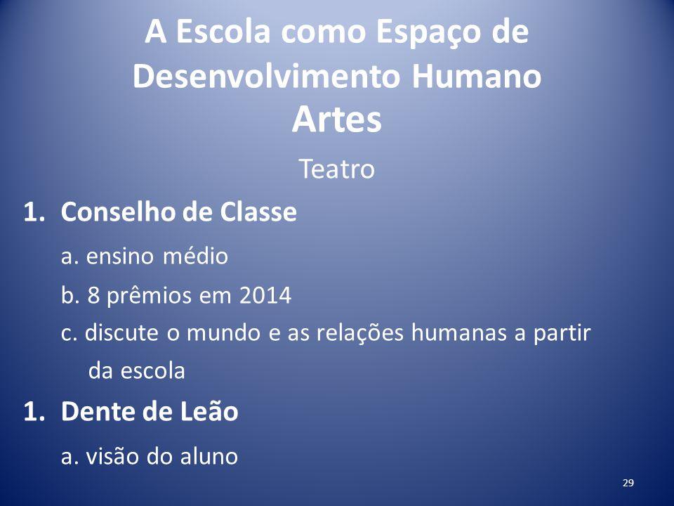 A Escola como Espaço de Desenvolvimento Humano Artes Teatro 1.Conselho de Classe a. ensino médio b. 8 prêmios em 2014 c. discute o mundo e as relações