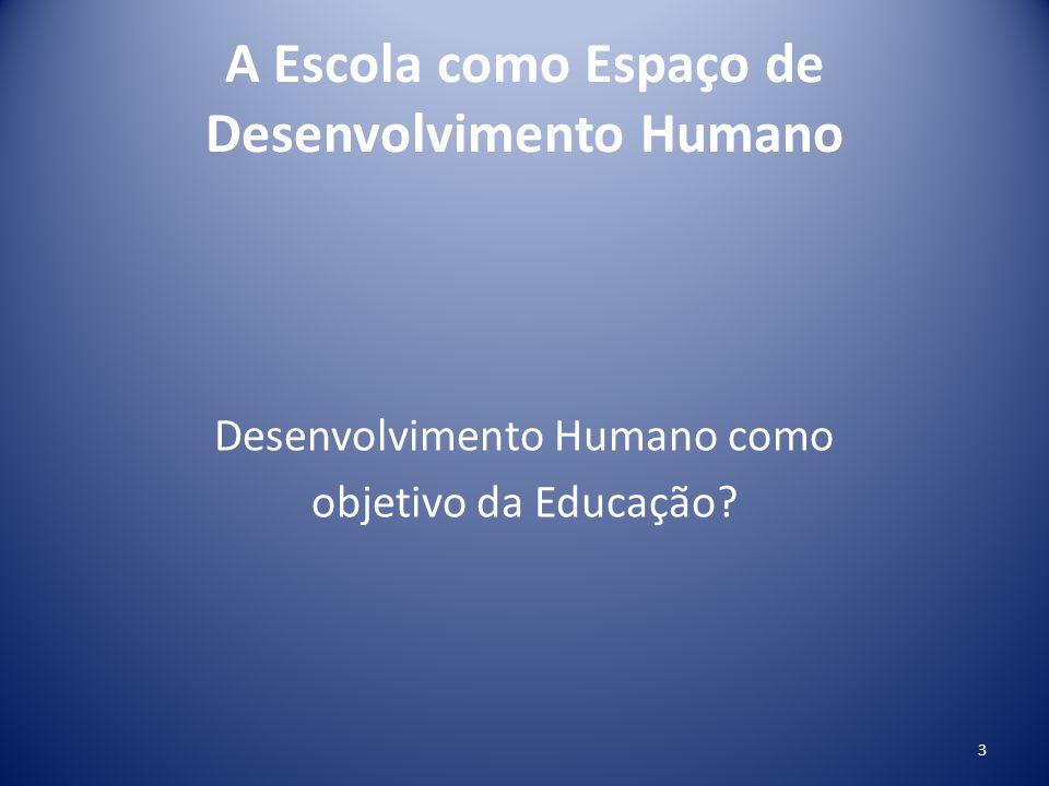 A Escola como Espaço de Desenvolvimento Humano Desenvolvimento Humano como objetivo da Educação? 3