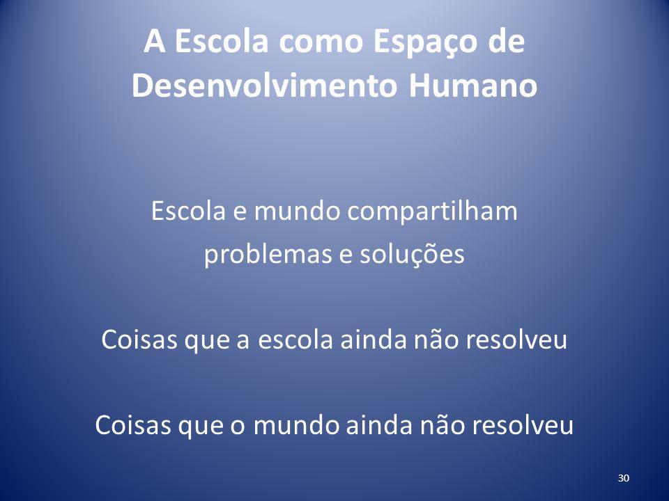 A Escola como Espaço de Desenvolvimento Humano Escola e mundo compartilham problemas e soluções Coisas que a escola ainda não resolveu Coisas que o mu