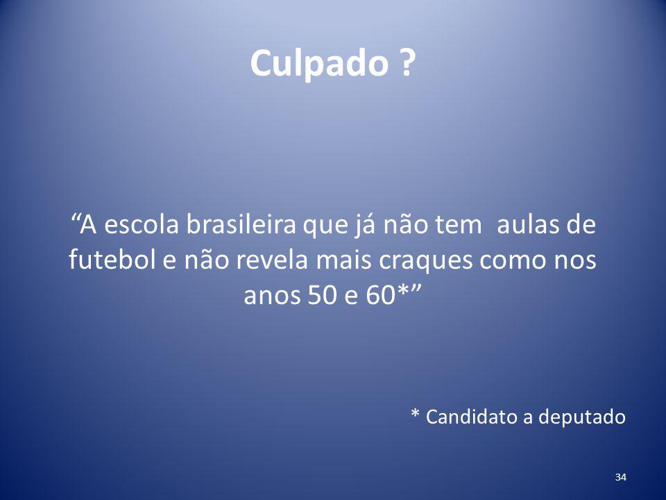 """Culpado ? """"A escola brasileira que já não tem aulas de futebol e não revela mais craques como nos anos 50 e 60*"""" * Candidato a deputado 34"""