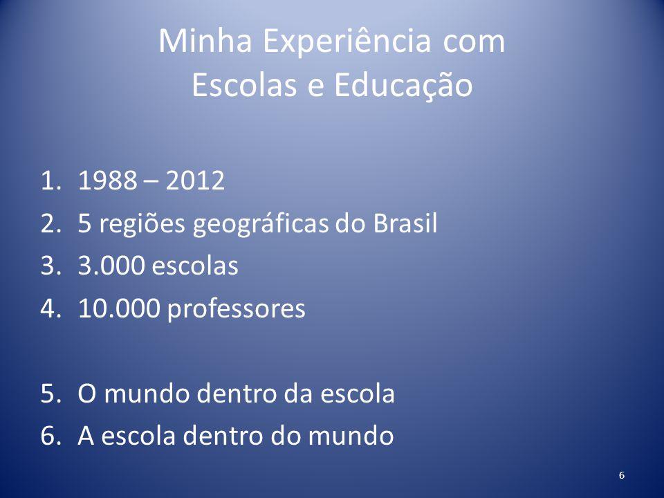 Minha Experiência com Escolas e Educação 1.1988 – 2012 2.5 regiões geográficas do Brasil 3.3.000 escolas 4.10.000 professores 5.O mundo dentro da esco