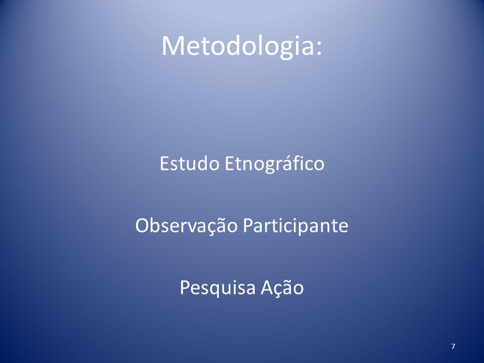 Metodologia: Estudo Etnográfico Observação Participante Pesquisa Ação 7