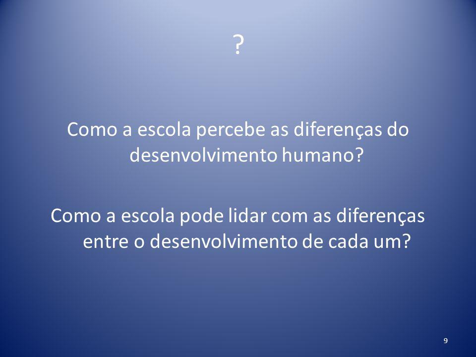 ? Como a escola percebe as diferenças do desenvolvimento humano? Como a escola pode lidar com as diferenças entre o desenvolvimento de cada um? 9