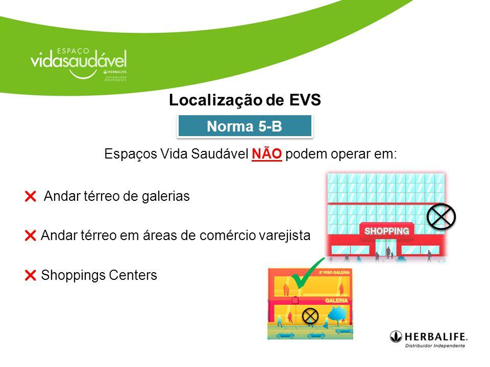  Andar térreo de galerias  Andar térreo em áreas de comércio varejista  Shoppings Centers Localização de EVS Norma 5-B Espaços Vida Saudável NÃO podem operar em: