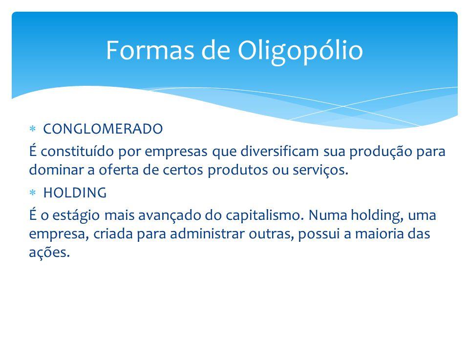  CONGLOMERADO É constituído por empresas que diversificam sua produção para dominar a oferta de certos produtos ou serviços.  HOLDING É o estágio ma