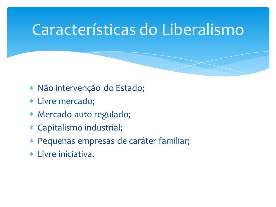  Não intervenção do Estado;  Livre mercado;  Mercado auto regulado;  Capitalismo industrial;  Pequenas empresas de caráter familiar;  Livre inic