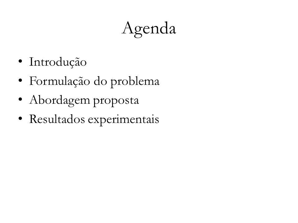 Agenda Introdução Formulação do problema Abordagem proposta Resultados experimentais