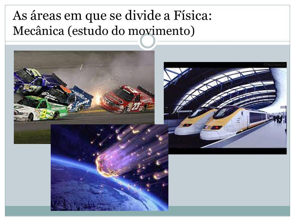 As áreas em que se divide a Física: Mecânica (estudo do movimento)