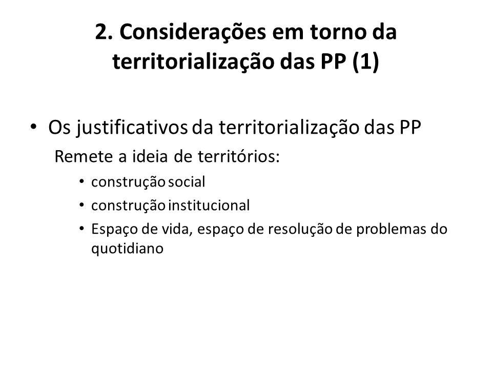 2. Considerações em torno da territorialização das PP (1) Os justificativos da territorialização das PP Remete a ideia de territórios: construção soci