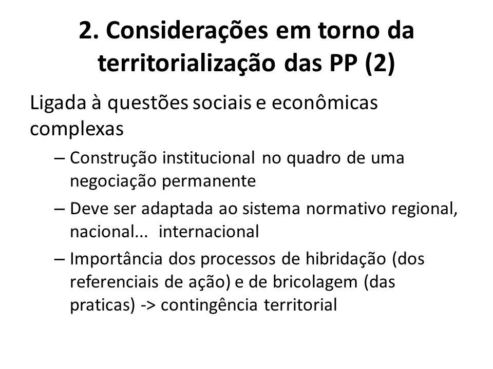 2. Considerações em torno da territorialização das PP (2) Ligada à questões sociais e econômicas complexas – Construção institucional no quadro de uma