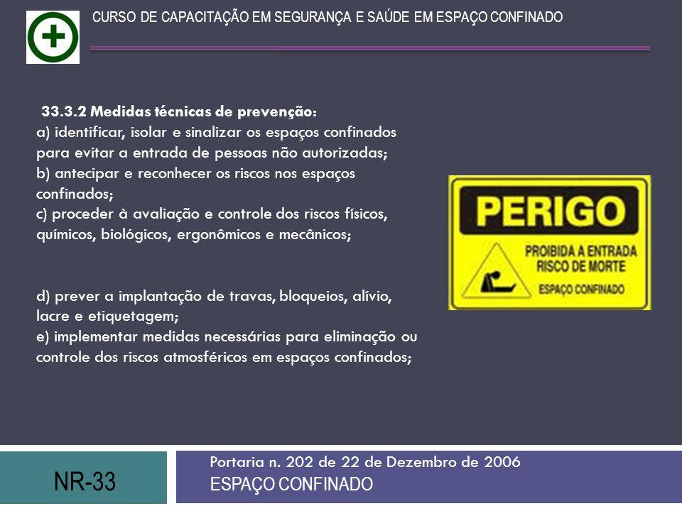 NR-33 ESPAÇO CONFINADO Portaria n.