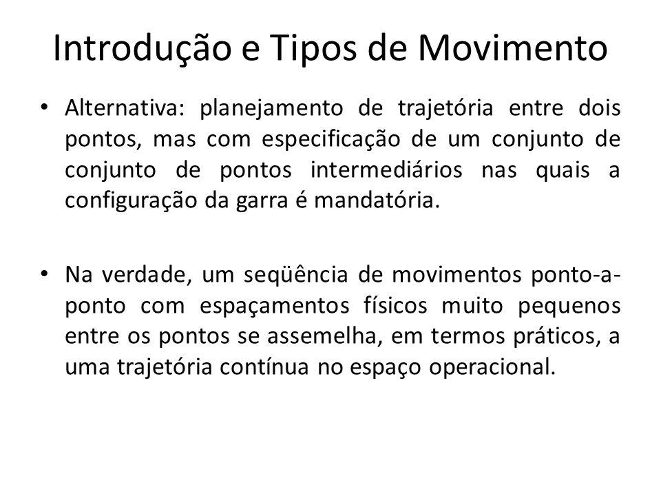 Introdução e Tipos de Movimento Alternativa: planejamento de trajetória entre dois pontos, mas com especificação de um conjunto de conjunto de pontos