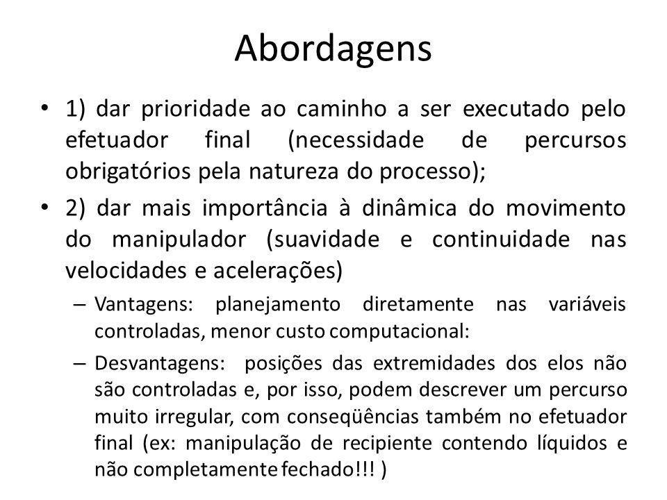 Abordagens 1) dar prioridade ao caminho a ser executado pelo efetuador final (necessidade de percursos obrigatórios pela natureza do processo); 2) dar