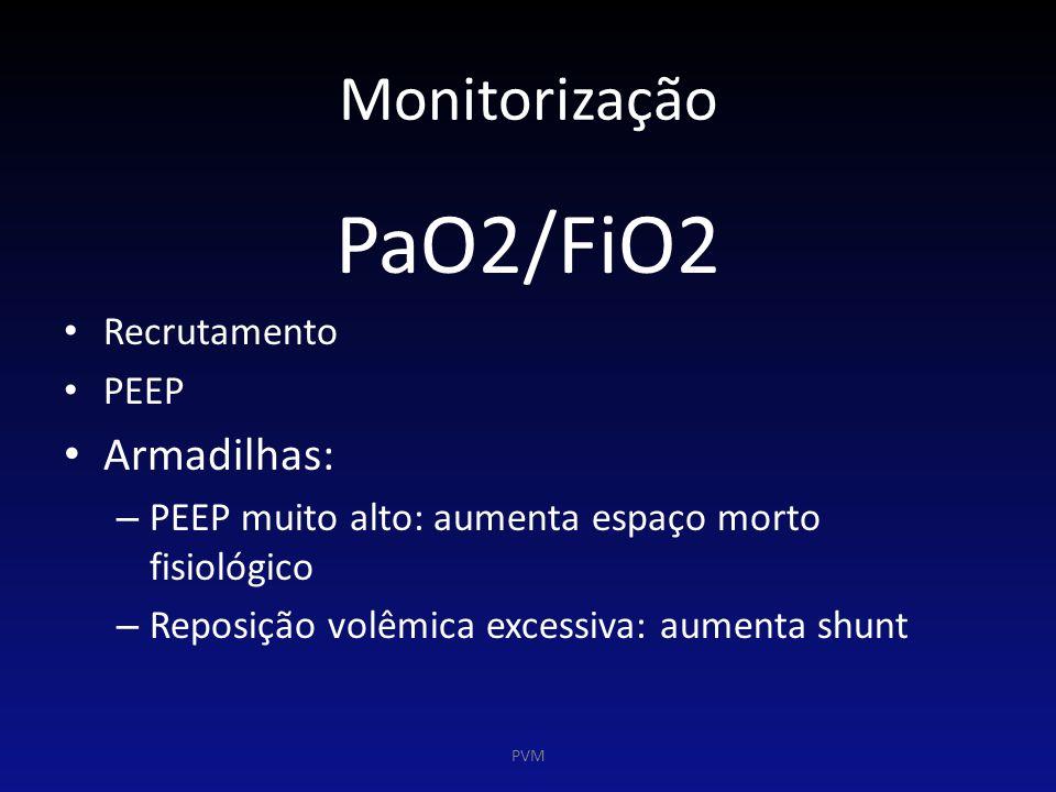 Monitorização PaO2/FiO2 Recrutamento PEEP Armadilhas: – PEEP muito alto: aumenta espaço morto fisiológico – Reposição volêmica excessiva: aumenta shun