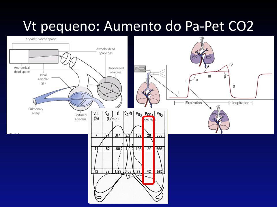 Vt pequeno: Aumento do Pa-Pet CO2 PVM