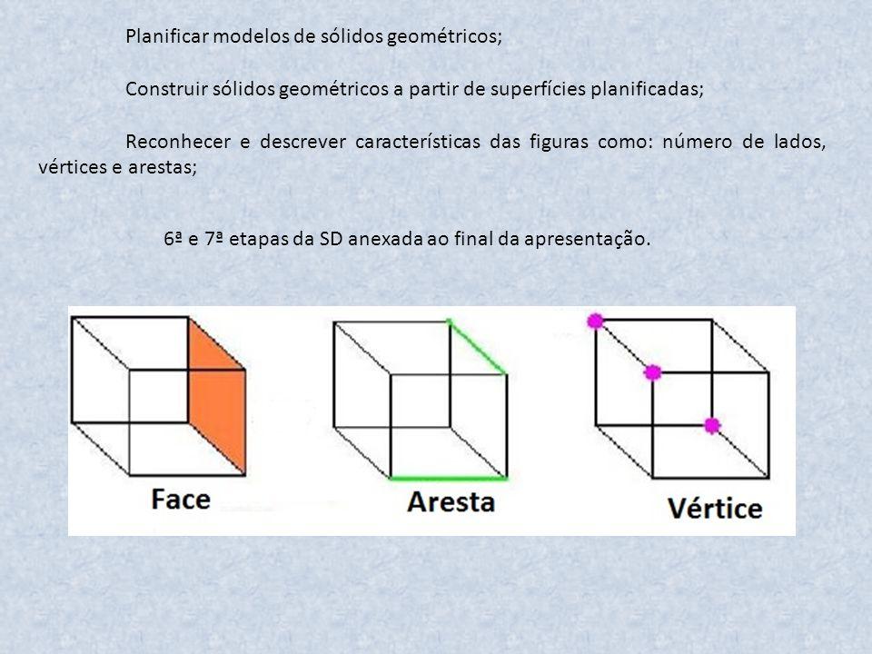 Planificar modelos de sólidos geométricos; Construir sólidos geométricos a partir de superfícies planificadas; Reconhecer e descrever características