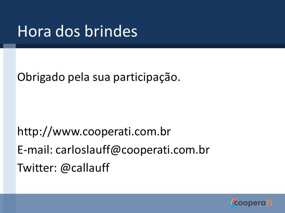 Hora dos brindes Obrigado pela sua participação. http://www.cooperati.com.br E-mail: carloslauff@cooperati.com.br Twitter: @callauff
