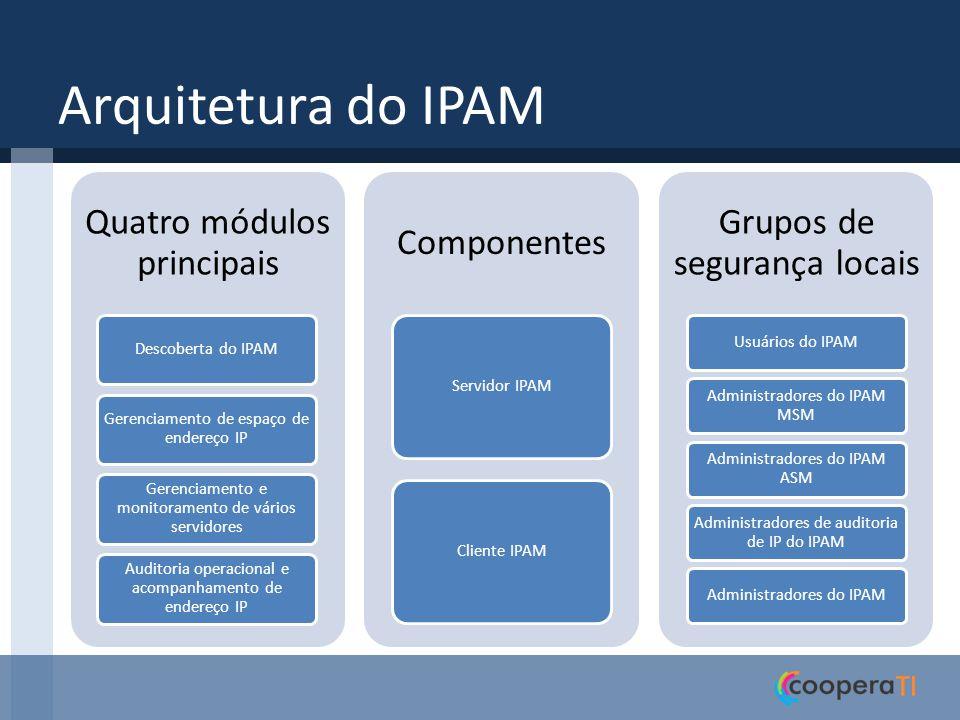 Módulos do IPAM Acessa o Active Directory para descobrir servidores de infraestrutura executando o Windows Server 2008 ou versão mais recente, com as funções AD DS, DNS e DHCP instaladas.