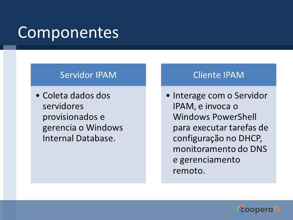 Tarefas do IPAM TarefaDescriçãoFrequência DiscoveryTaskDescobre automaticamente DC, DNS e DHCP Um dia AddressUtilizationCollectionTaskColeta dados da utilização de espaço de endereço dos servidores DHCP Duas horas AuditTaskColeta informações de auditoria de servidores DHCP e IPAM e logs de auditoria de concessão de IP de servidores NPS e DC Um dia ConfigurationTaskColeta informações de configuração de servidores DHCP e DNS para ASM e MSM Seis horas ServerAvailabilityTaskColeta o status de disponibilidade de serviço para servidores DHCP e DNS 15 minutos