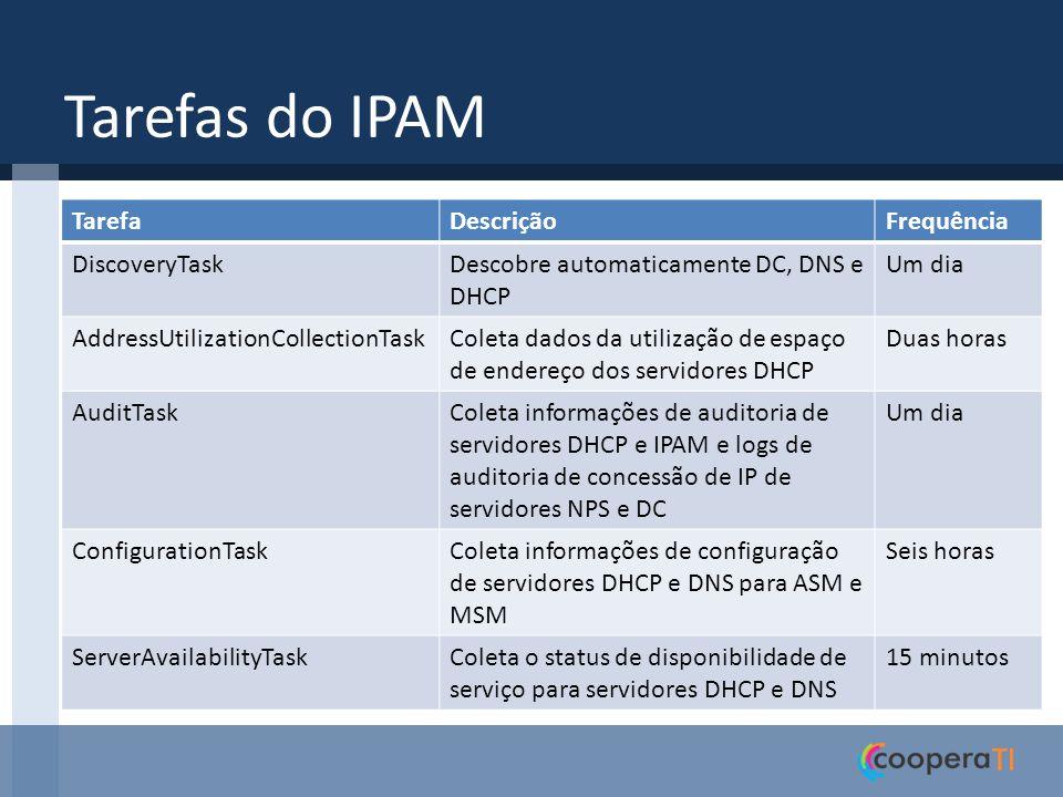 Tarefas do IPAM TarefaDescriçãoFrequência DiscoveryTaskDescobre automaticamente DC, DNS e DHCP Um dia AddressUtilizationCollectionTaskColeta dados da