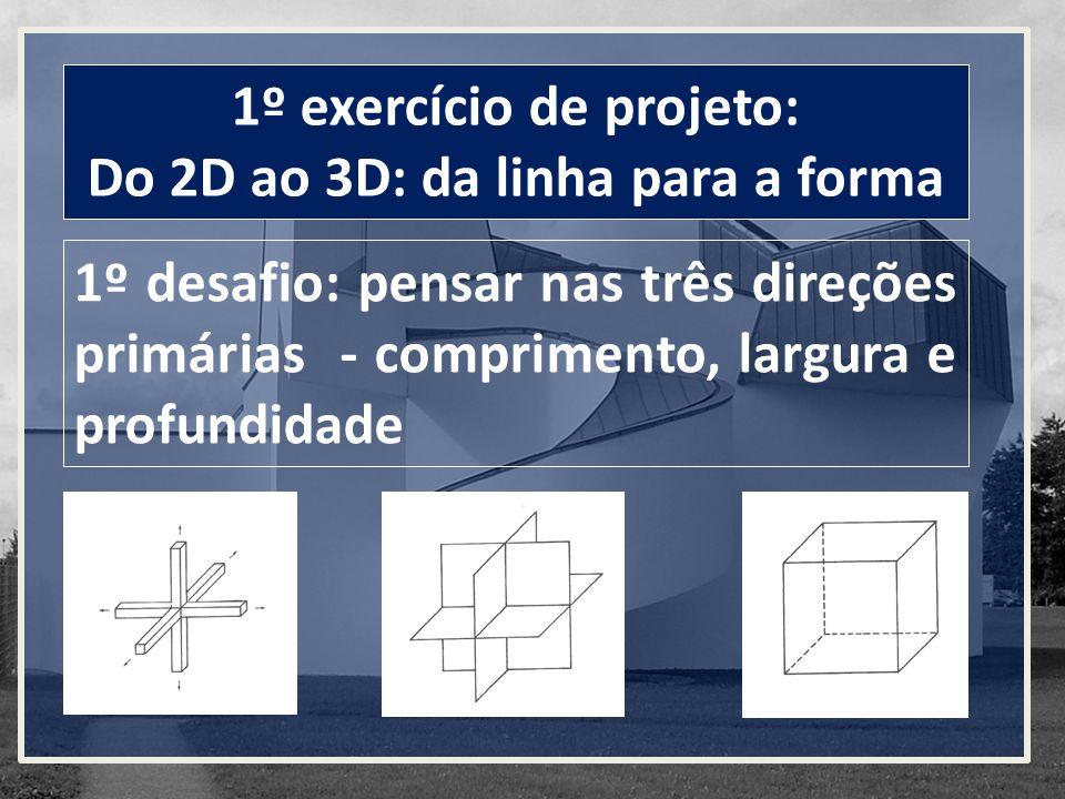 1º exercício de projeto: Do 2D ao 3D: da linha para a forma 1º desafio: pensar nas três direções primárias - comprimento, largura e profundidade
