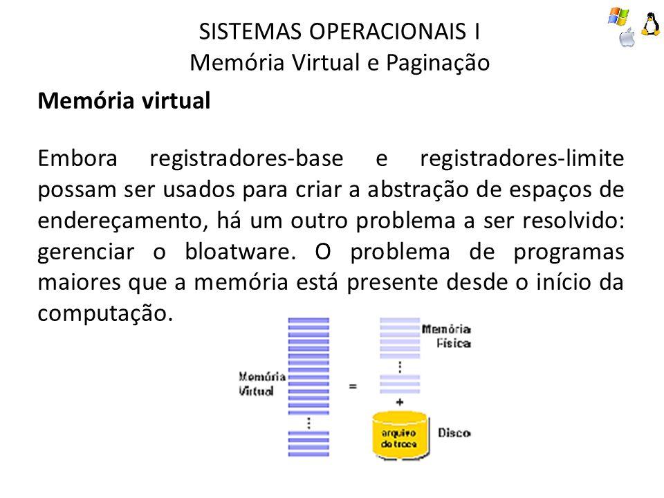 SISTEMAS OPERACIONAIS I Memória Virtual e Paginação Memória virtual Embora registradores-base e registradores-limite possam ser usados para criar a ab