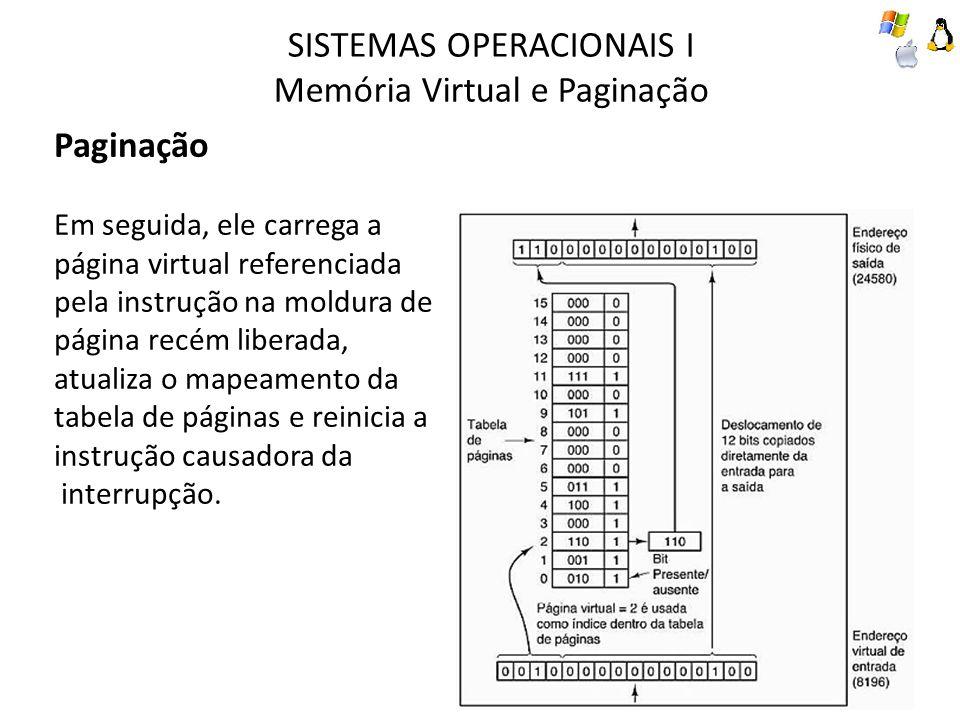 SISTEMAS OPERACIONAIS I Memória Virtual e Paginação Paginação Em seguida, ele carrega a página virtual referenciada pela instrução na moldura de págin