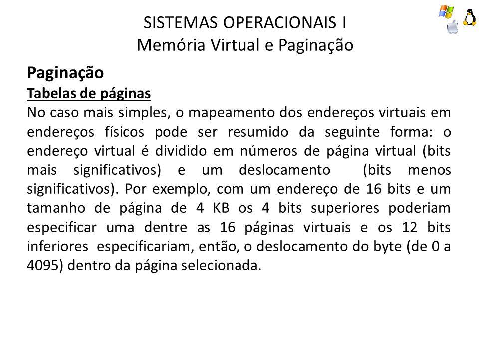 SISTEMAS OPERACIONAIS I Memória Virtual e Paginação Paginação Tabelas de páginas No caso mais simples, o mapeamento dos endereços virtuais em endereço