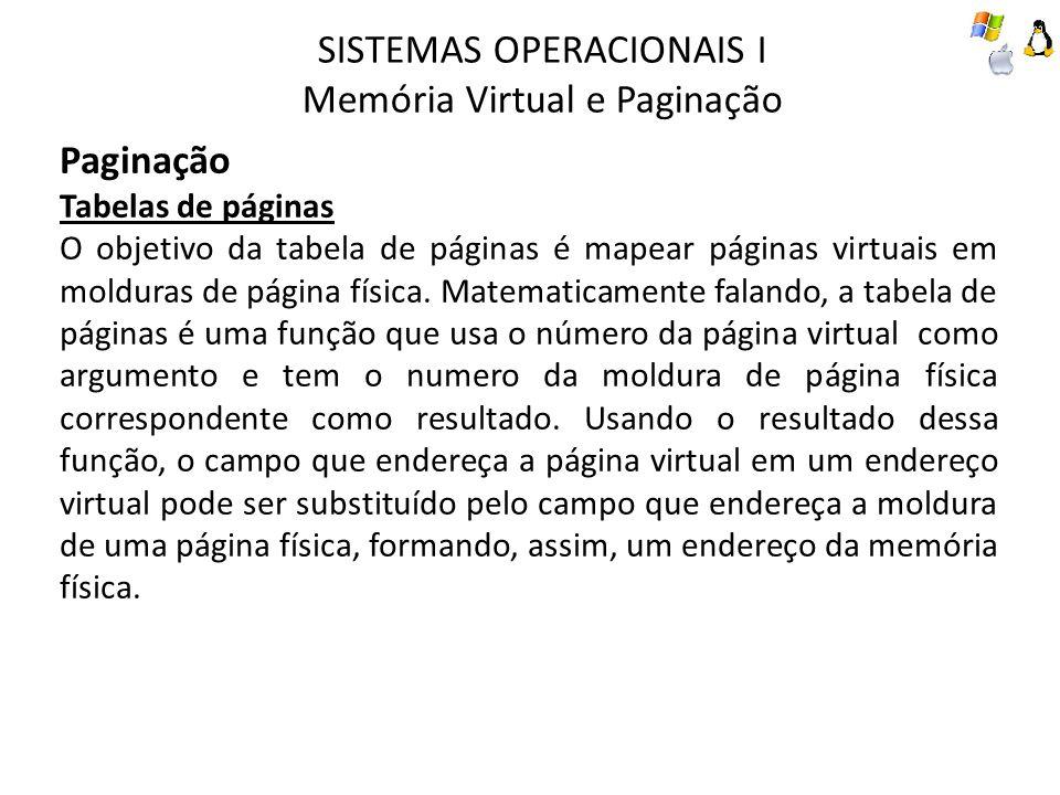 SISTEMAS OPERACIONAIS I Memória Virtual e Paginação Paginação Tabelas de páginas O objetivo da tabela de páginas é mapear páginas virtuais em molduras