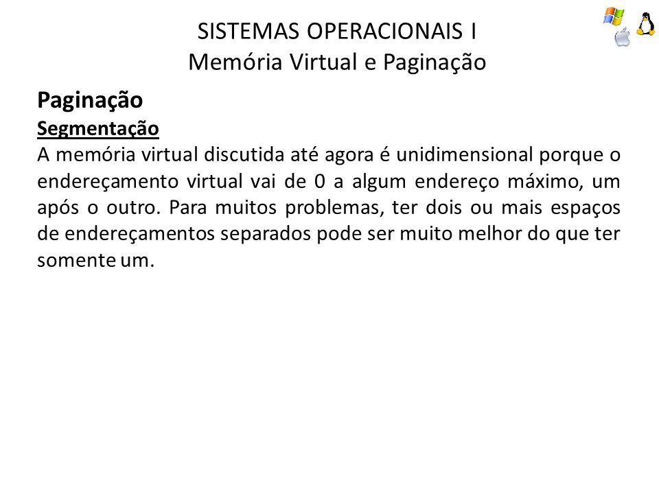 SISTEMAS OPERACIONAIS I Memória Virtual e Paginação Paginação Segmentação A memória virtual discutida até agora é unidimensional porque o endereçament