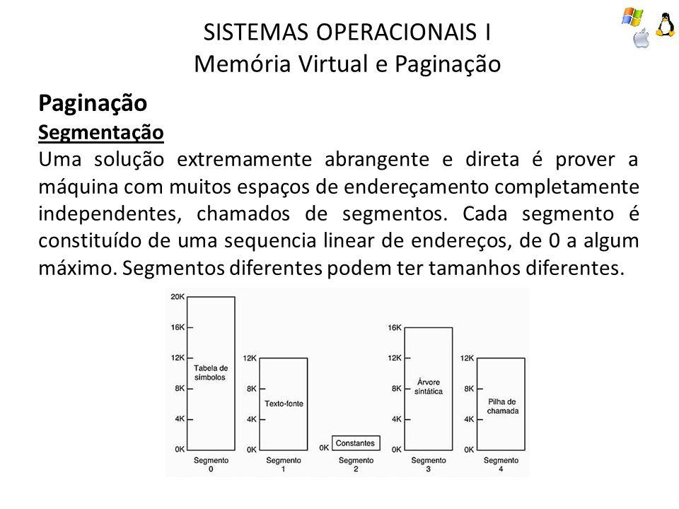 SISTEMAS OPERACIONAIS I Memória Virtual e Paginação Paginação Segmentação Uma solução extremamente abrangente e direta é prover a máquina com muitos e