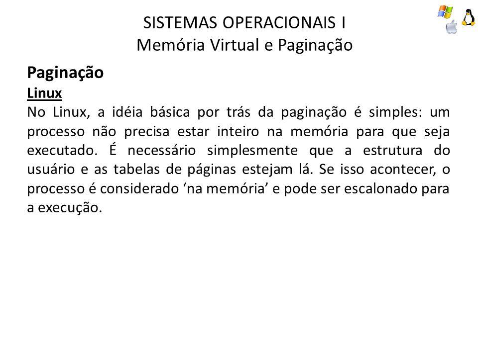 SISTEMAS OPERACIONAIS I Memória Virtual e Paginação Paginação Linux No Linux, a idéia básica por trás da paginação é simples: um processo não precisa
