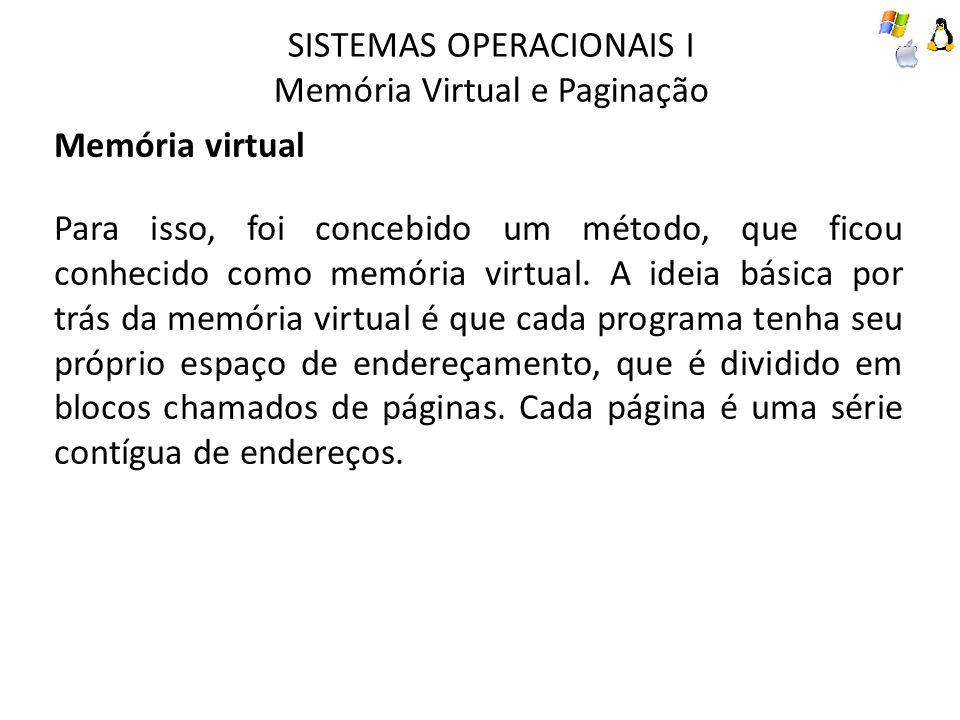 SISTEMAS OPERACIONAIS I Memória Virtual e Paginação Paginação Tabelas de páginas O objetivo da tabela de páginas é mapear páginas virtuais em molduras de página física.