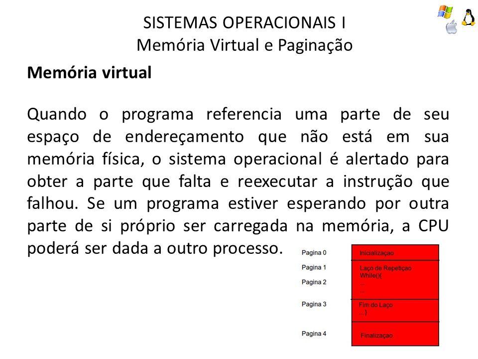 SISTEMAS OPERACIONAIS I Memória Virtual e Paginação Memória virtual Quando o programa referencia uma parte de seu espaço de endereçamento que não está