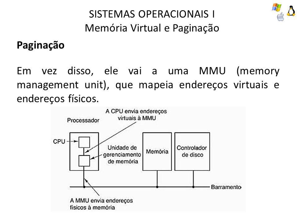SISTEMAS OPERACIONAIS I Memória Virtual e Paginação Paginação Um exemplo de computador que pode gerar endereços virtuais de 16 bits, de 0 a 64k, esse computador tem somente 32 KB de memória física.