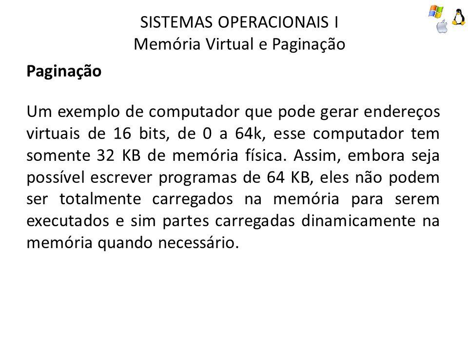 SISTEMAS OPERACIONAIS I Memória Virtual e Paginação Paginação Um exemplo de computador que pode gerar endereços virtuais de 16 bits, de 0 a 64k, esse