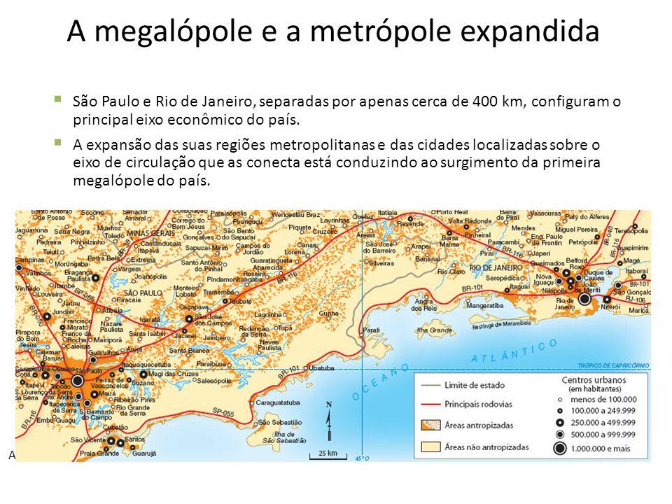 A megalópole e a metrópole expandida  São Paulo e Rio de Janeiro, separadas por apenas cerca de 400 km, configuram o principal eixo econômico do país.