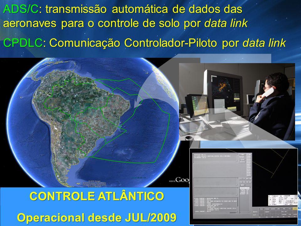 CONTROLE ATLÂNTICO Operacional desde JUL/2009 CONTROLE ATLÂNTICO Operacional desde JUL/2009 ADS/C: transmissão automática de dados das aeronaves para