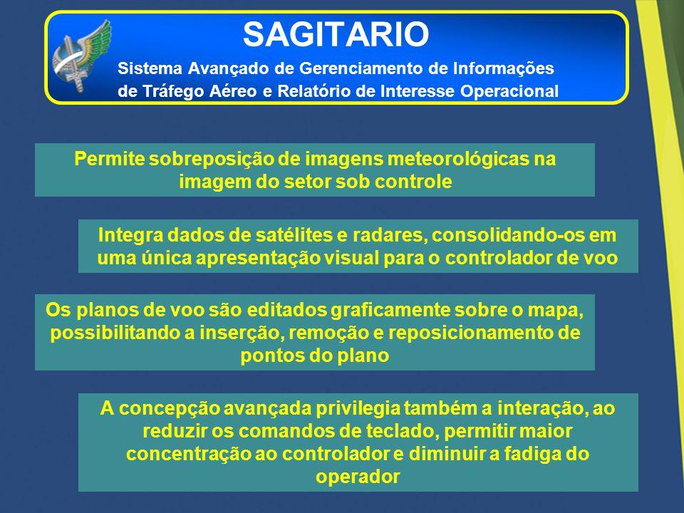 Integra dados de satélites e radares, consolidando-os em uma única apresentação visual para o controlador de voo Permite sobreposição de imagens meteo