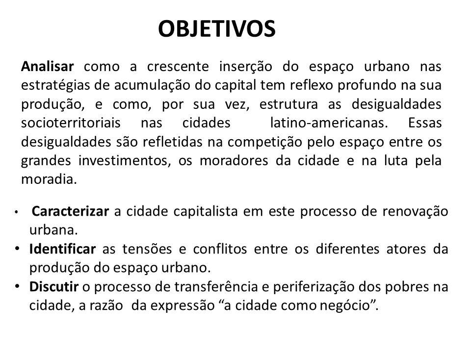 OBJETIVOS Analisar como a crescente inserção do espaço urbano nas estratégias de acumulação do capital tem reflexo profundo na sua produção, e como, p