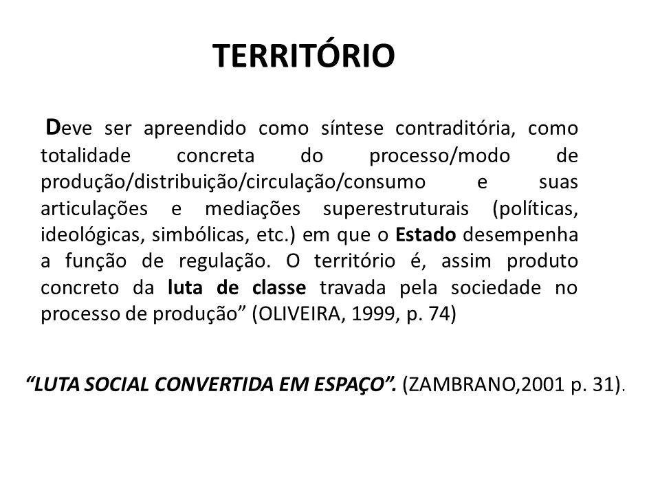 TERRITÓRIO D eve ser apreendido como síntese contraditória, como totalidade concreta do processo/modo de produção/distribuição/circulação/consumo e su