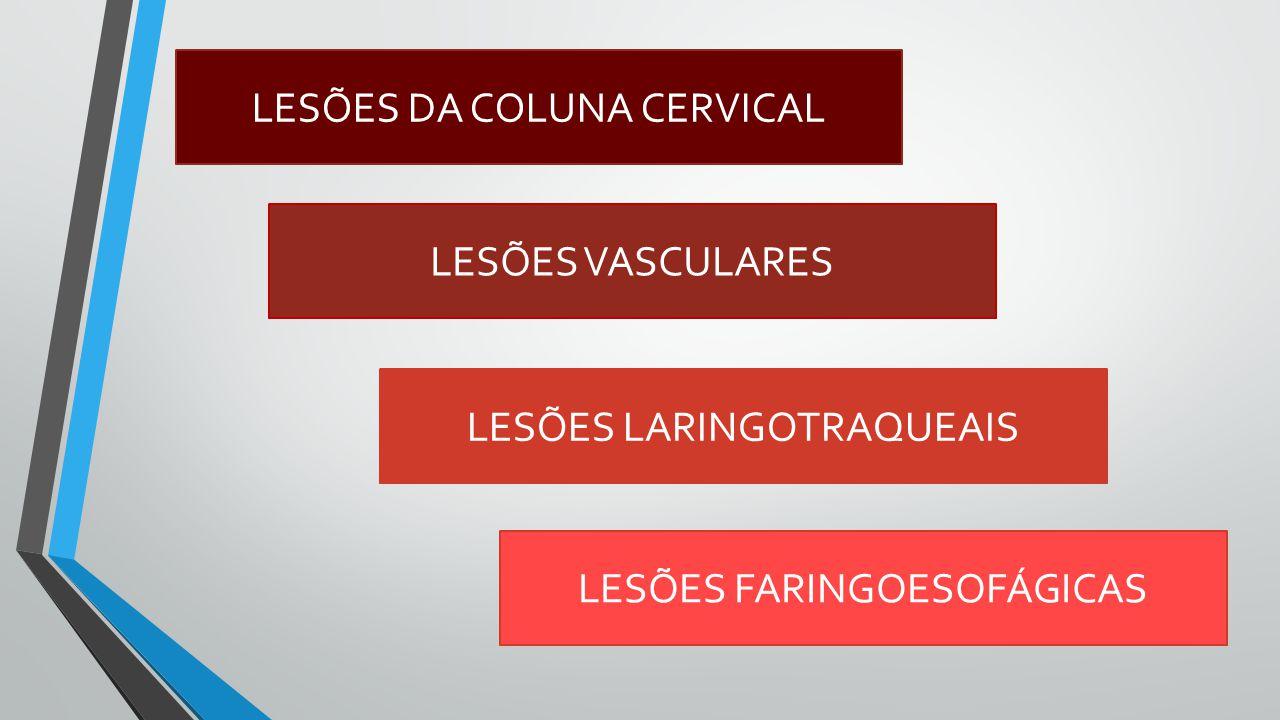 LESÕES DA COLUNA CERVICAL LESÕES LARINGOTRAQUEAIS LESÕES VASCULARES LESÕES FARINGOESOFÁGICAS